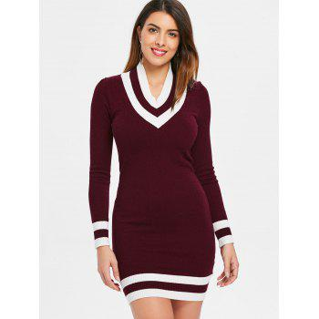 Full Sleeve Striped Brim Mini Knit Dress - FIREBRICK 2XL