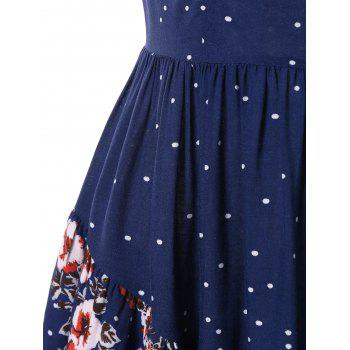 Short Sleeve Layered Flower Dress - DEEP BLUE M