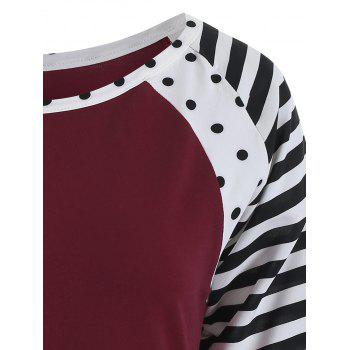 Polka Dot and Striped Round Neck T-shirt - RED WINE XL