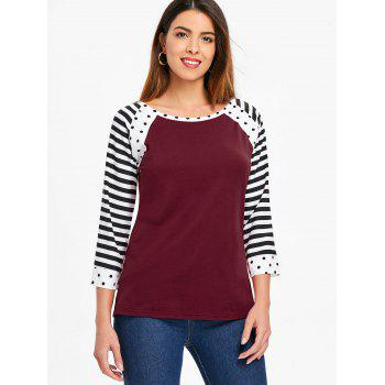 Polka Dot and Striped Round Neck T-shirt - RED WINE M