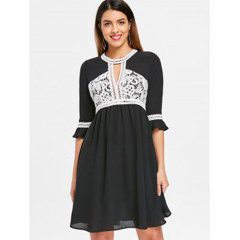 Cut Out Knee Length Flowy Dress - BLACK S