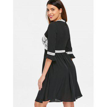 Cut Out Knee Length Flowy Dress - BLACK 2XL