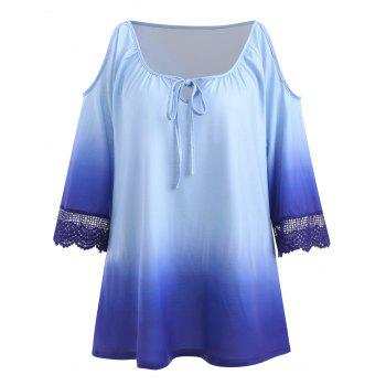 Plus Size Ombre Print Cut Out Top - BABY BLUE 1X