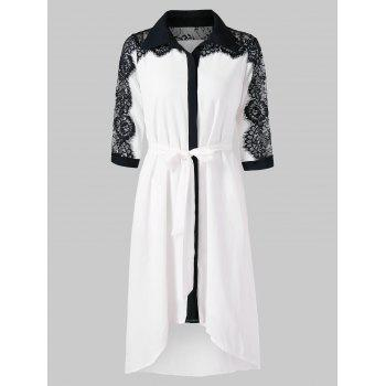 Lace Trim Asymmetrical Chiffon Shirtdress - MILK WHITE XL