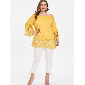 Plus Size Baring Shoulder Flare Sleeve Blouse - SUN YELLOW 2X