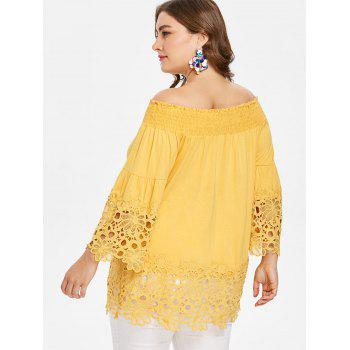 Plus Size Baring Shoulder Flare Sleeve Blouse - SUN YELLOW 5X