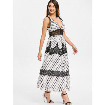 Plunge Lace Insert Polka Dot Maxi Dress - WHITE 2XL