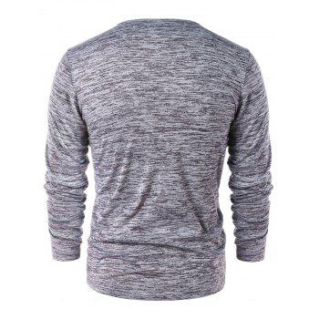 Casual Long Sleeve Henley T-shirt - GRAY XL