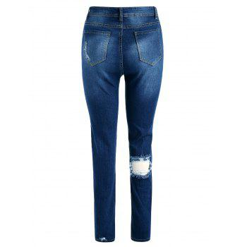 Ripped High Waist Skinny Jeans - DENIM DARK BLUE XL
