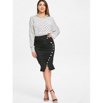 High Waist Small Fishtail Skirt with Buttons - BLACK M