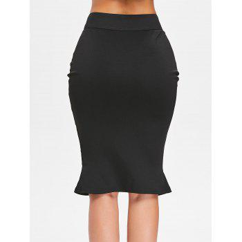 High Waist Small Fishtail Skirt with Buttons - BLACK L