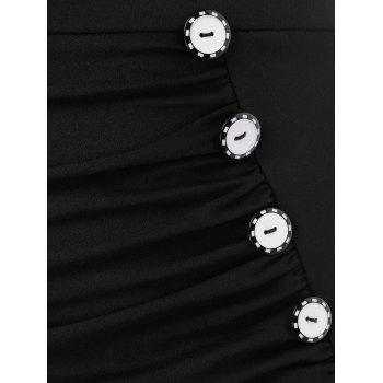 High Waist Small Fishtail Skirt with Buttons - BLACK 2XL