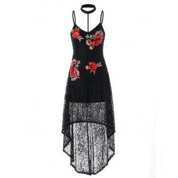 Lace High Low Embroidered Choker Dress - BLACK M