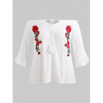 Plus Size Floral Embroidery Blouse - MILK WHITE L