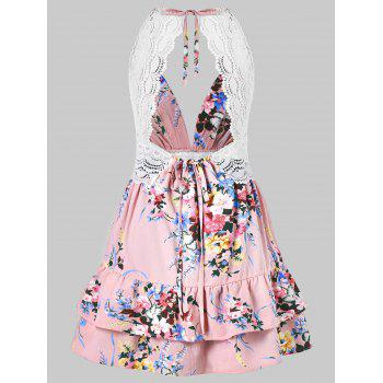 Spaghetti Strap Low Cut Layered Flower Dress - PINK L