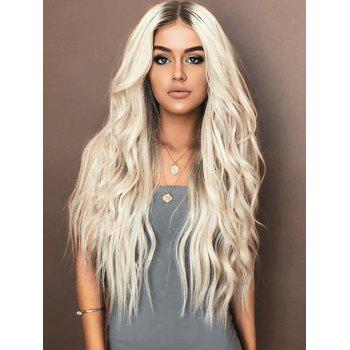 Long Center Parting Natural Wavy Colormix Synthetic Wig