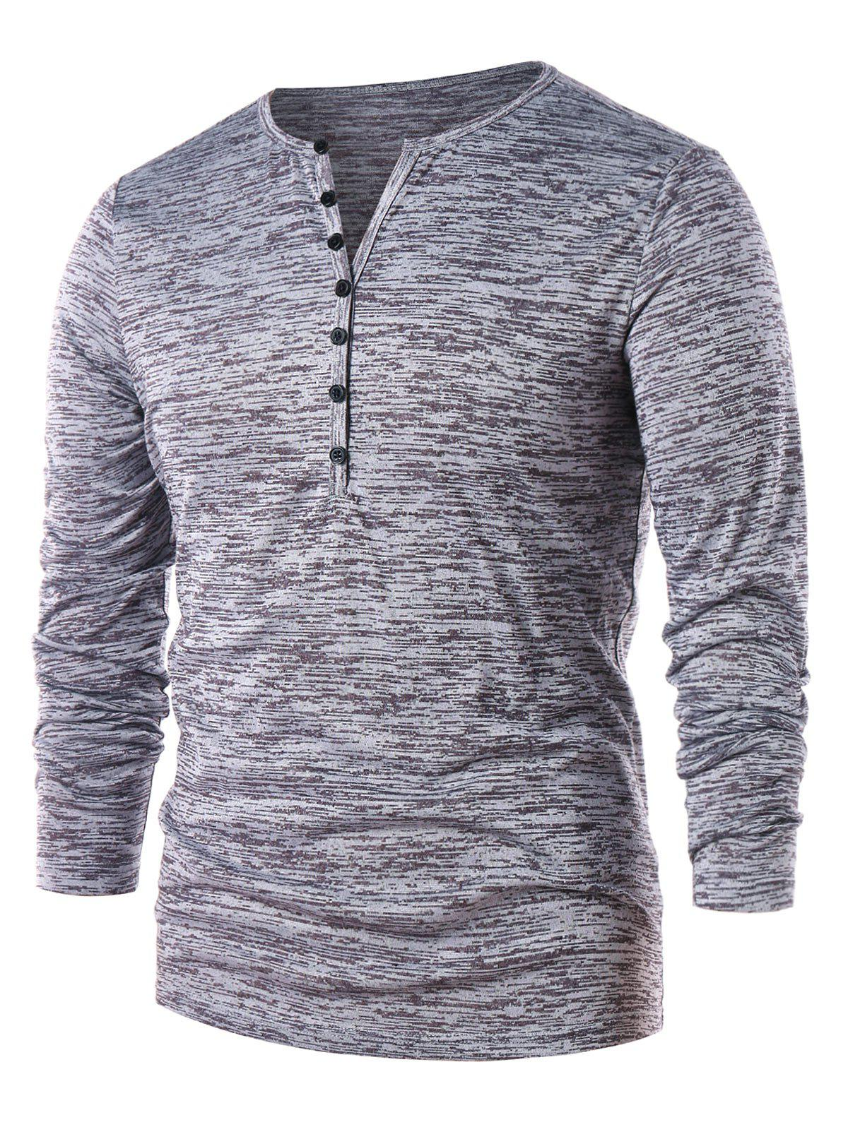 Casual Long Sleeve Henley T-shirt - GRAY M