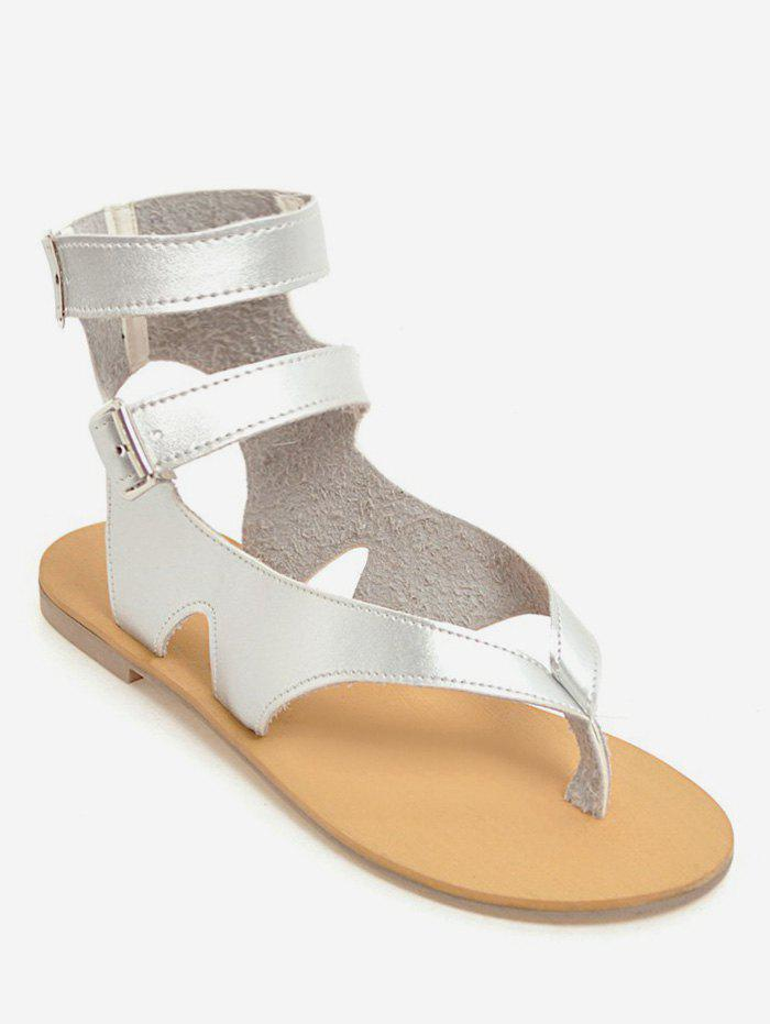 a7fc8d38185 2018 Plus Size Ankle Strap Buckles Chic Thong Sandals SILVER In Plus ...