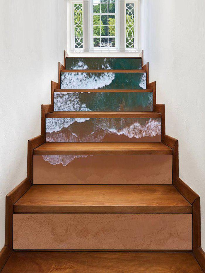 Beach Waves Print Stair Stickers - multicolor 6PCS:39*7 INCH( NO FRAME )