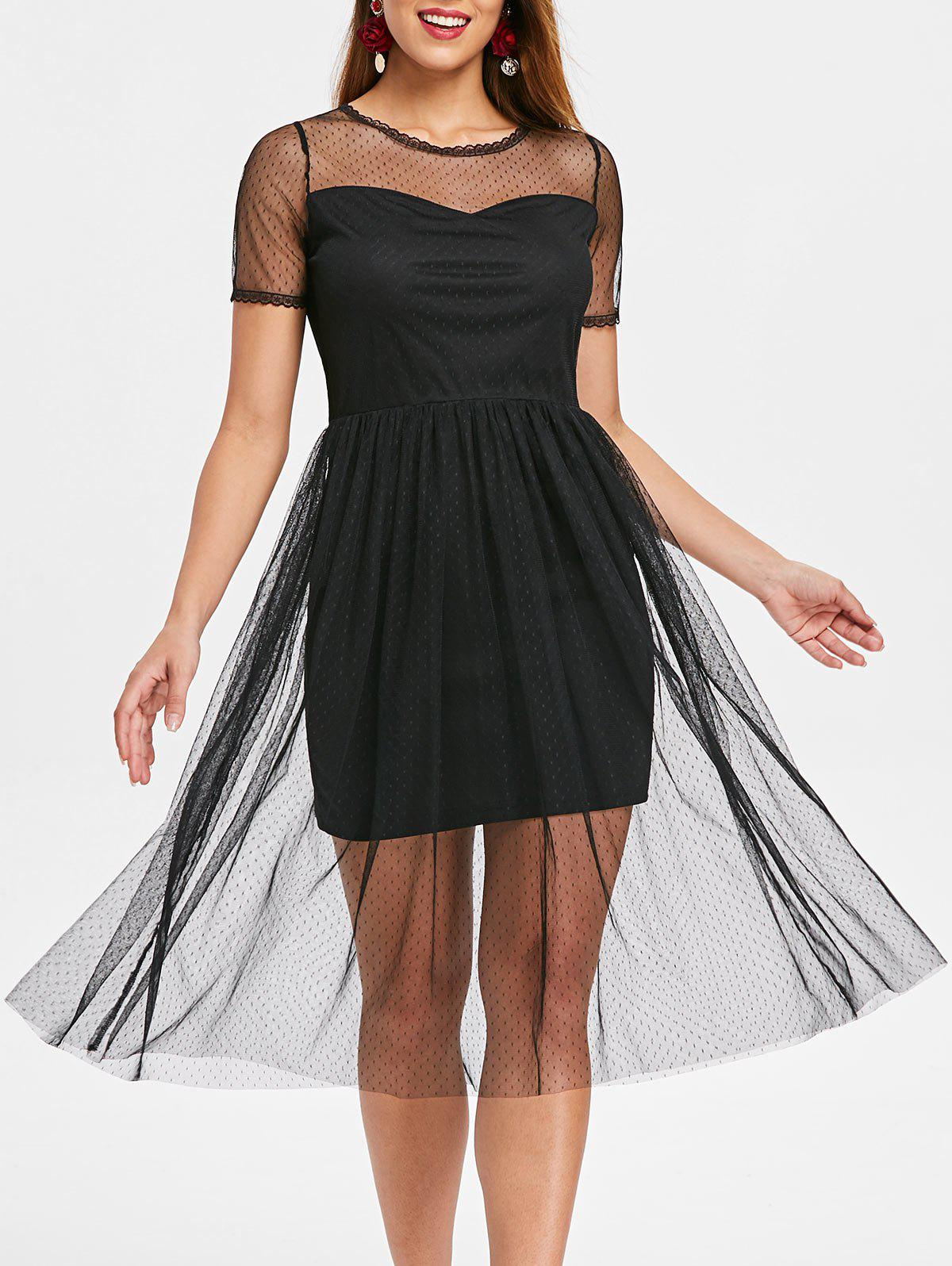 High Waist Mesh Overlay Dress - BLACK XL