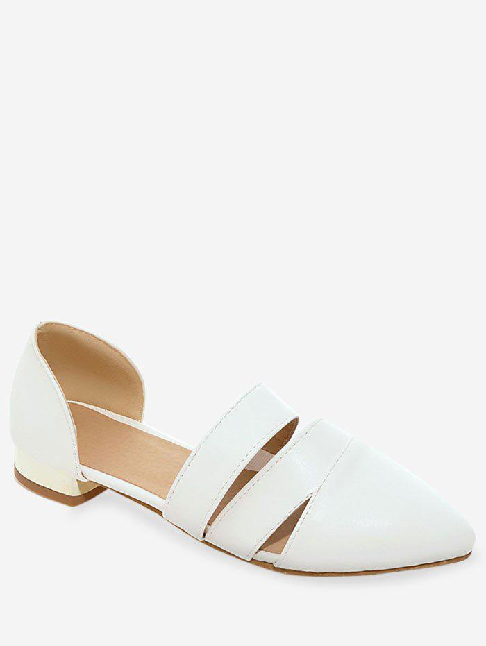 Plus Size Pointed Toe Casual Working Pumps - WHITE 37