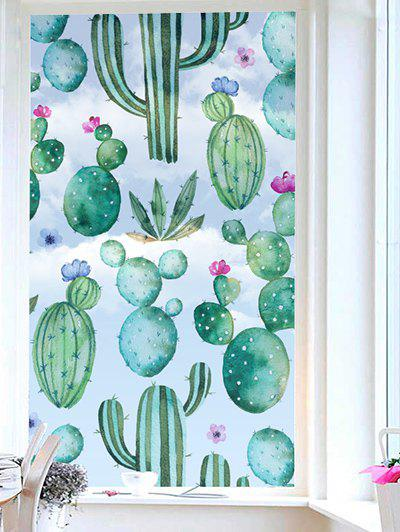 Succulents Print Translucent Frosted Glass Sticker - multicolor 18*23 INCH
