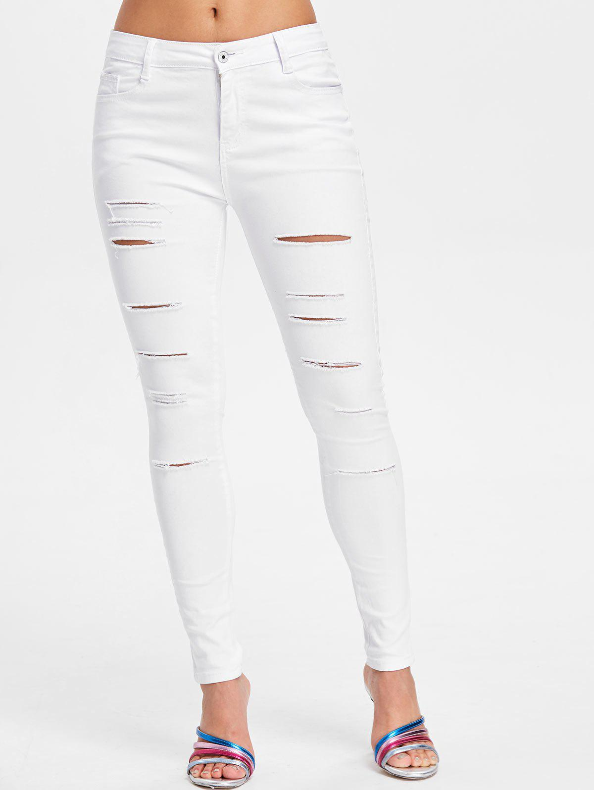 Cut Out Distressed Jeans - WHITE XL