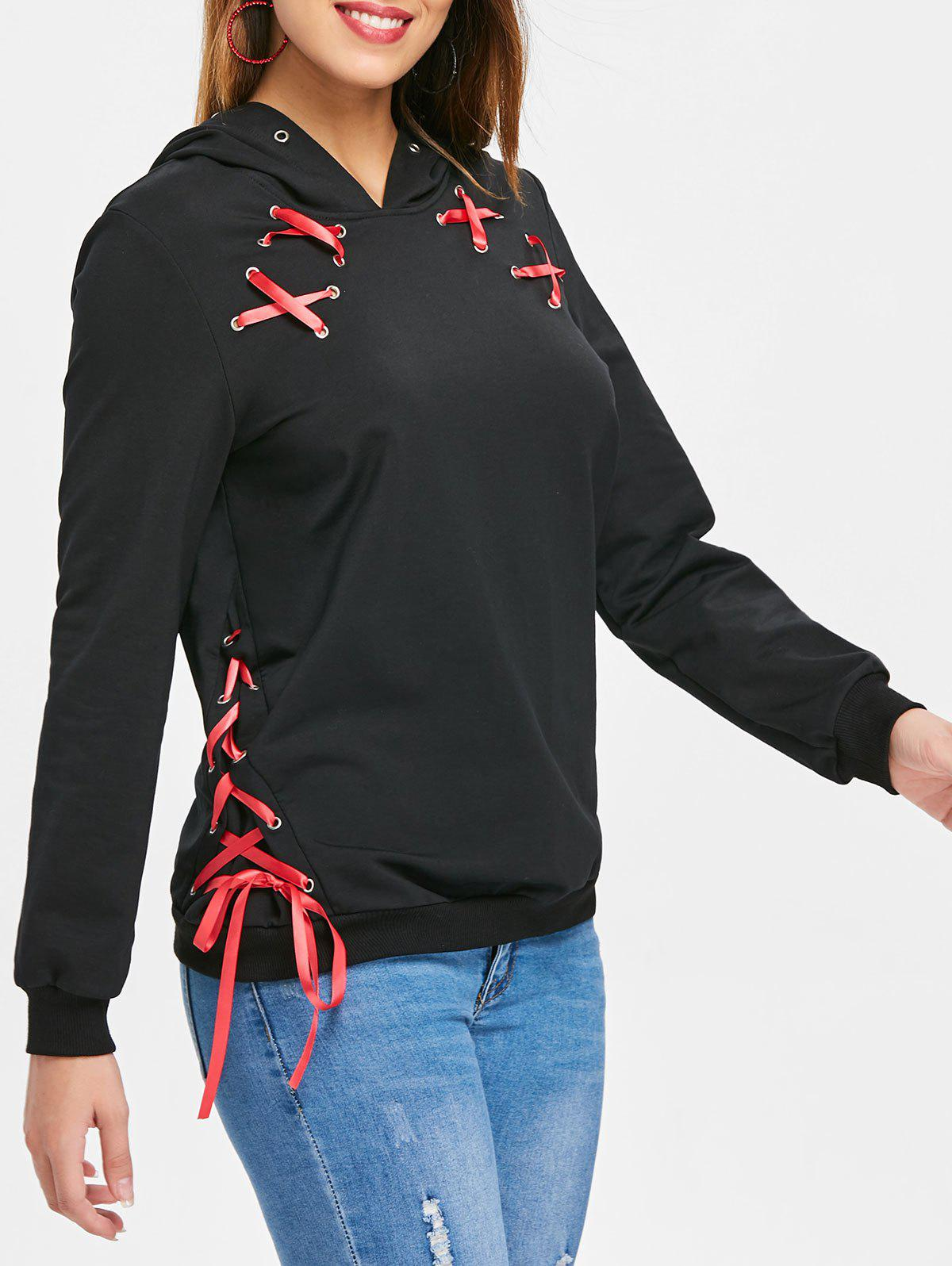 Lace Up Ribbon Hoodie фото