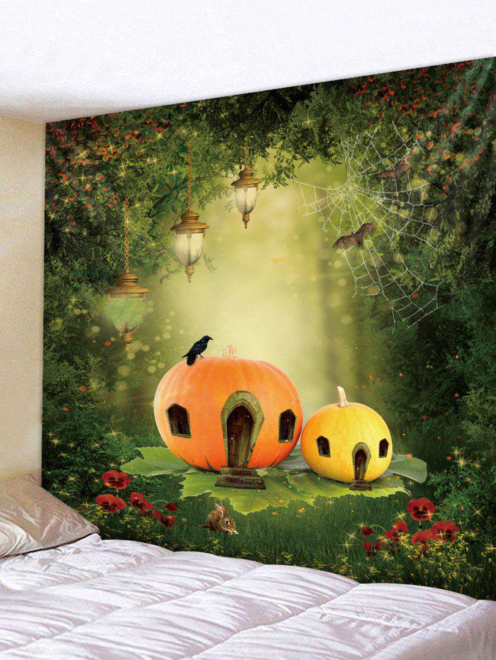 Magic Forest Lamps Cobweb Pumpkin House Print Wall Art Tapestry - multicolor W91 INCH * L71 INCH