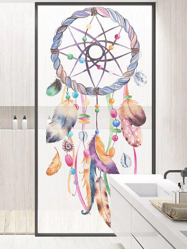 Dream Catcher Print Translucent Frosted Glass Sticker - multicolor 35*23 INCH