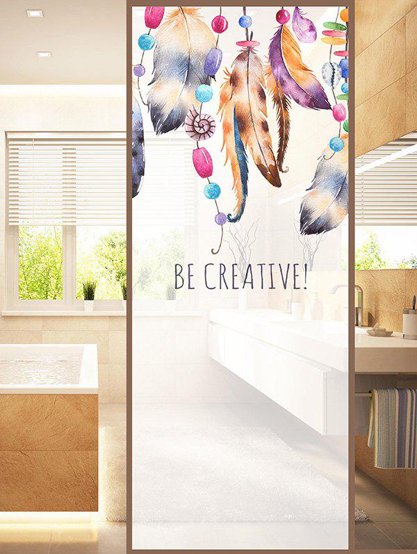Feathers Print Translucent Frosted Glass Sticker - multicolor 47*23 INCH