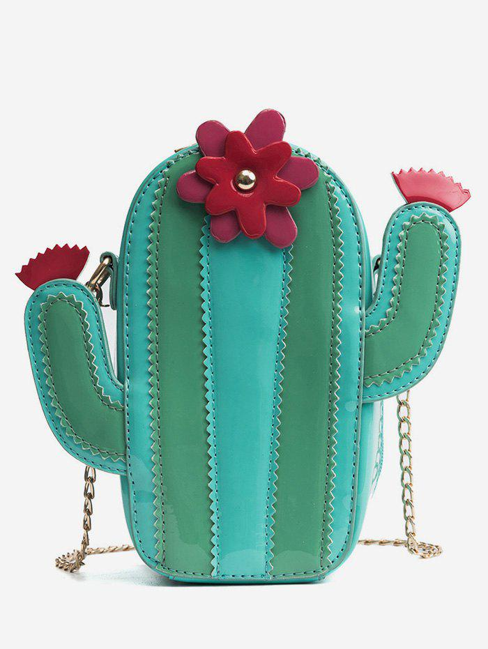 Color Block Cactus Shaped Flower Crossbody Bag - GREEN