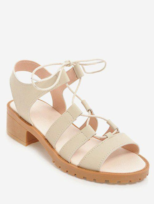 Plus Size Chunky Heel Leisure Outdoor Sandals - BEIGE 40