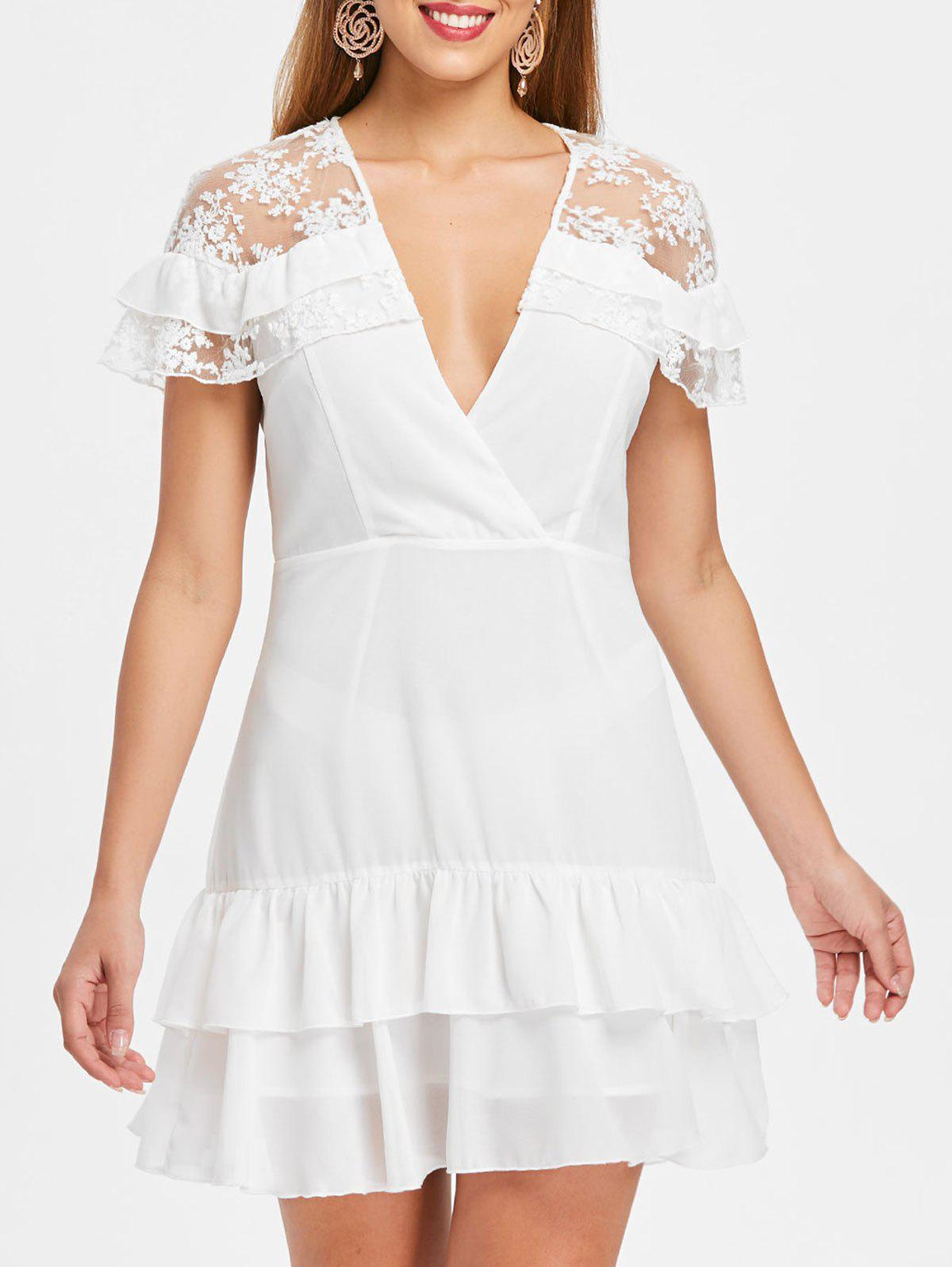 Lace Panel Deep V Neck Layered Dress - WHITE M