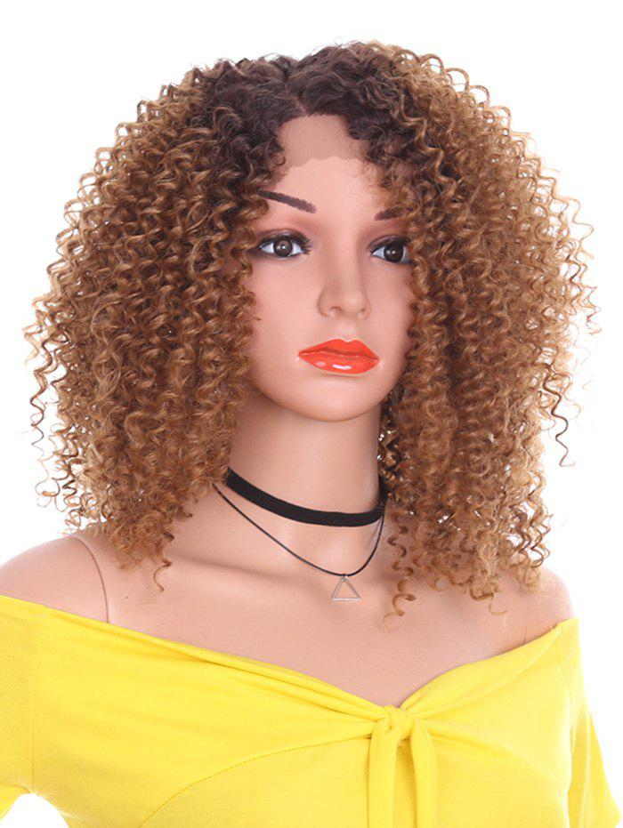 Short Inclined Bang Kinky Curly Lace Front Synthetic Wig - LIGHT BROWN 12INCH