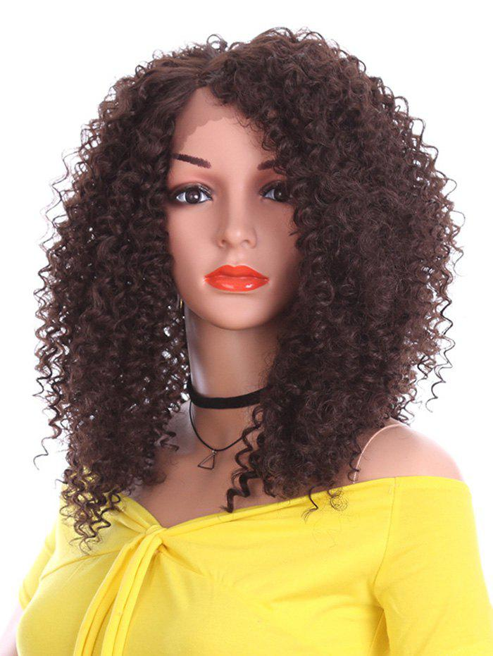Short Inclined Bang Kinky Curly Lace Front Synthetic Wig - BROWN 12INCH