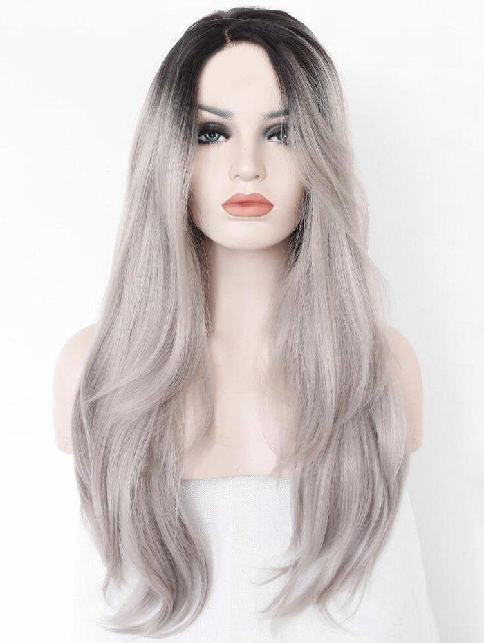 Long Side Parting Gradient Color Straight Synthetic Wig - multicolor
