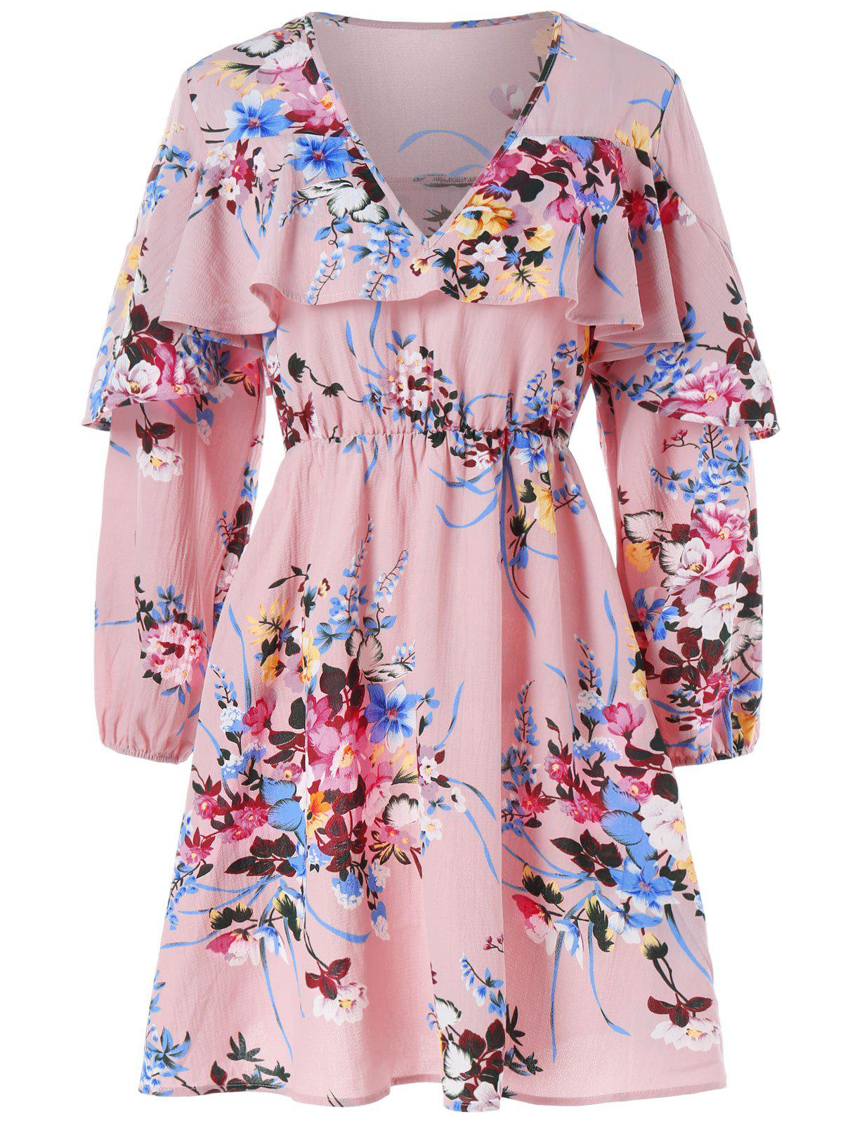 Long Sleeve Flounce Floral Dress - PINK M