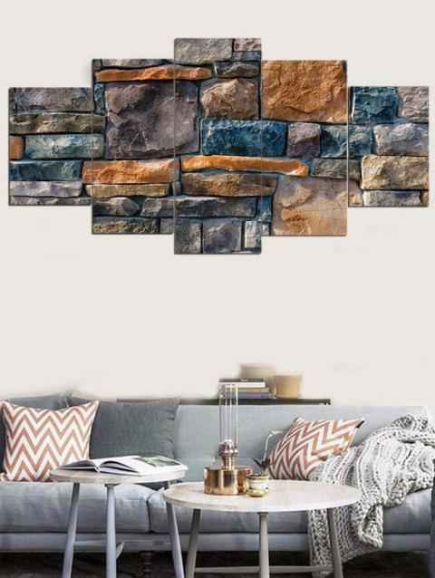 Stones Wall Printed Unframed Wall Art Canvas Paintings - multicolor 1PC:8*20,2PCS:8*12,2PCS:8*16 INCH( NO FRAME )