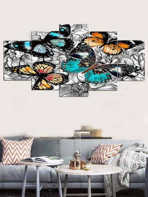 Wall Art Butterflies Canvas Paintings - multicolor 1PC:8*20,2PCS:8*12,2PCS:8*16 INCH( NO FRAME )