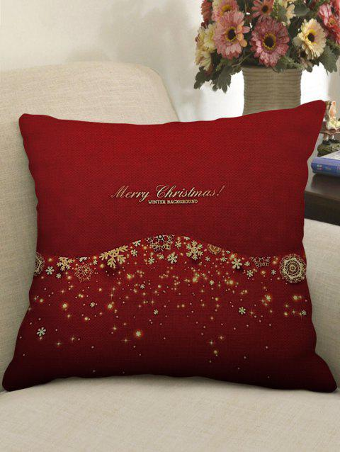 Merry Christmas Snowflake Print Decorative Linen Sofa Pillowcase - LOVE RED W17.5 INCH * L17.5 INCH