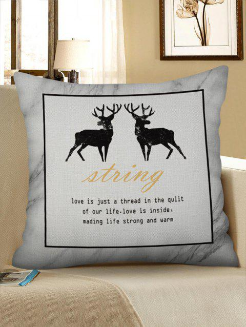 Geometric Deer Print Pillow Case - NATURAL WHITE W17.5 INCH * L17.5 INCH