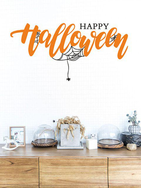 Halloween Web Spider Removable Wall Stickers - BLACK/ORANGE