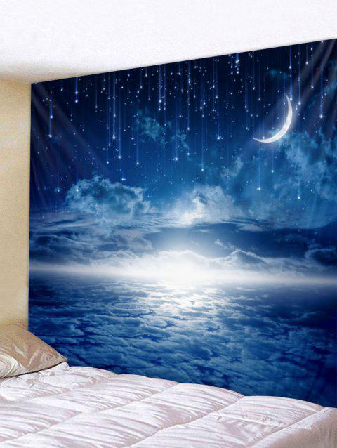 Moon Starry Sky Print Tapestry Wall Art - BLUE W91 INCH * L71 INCH