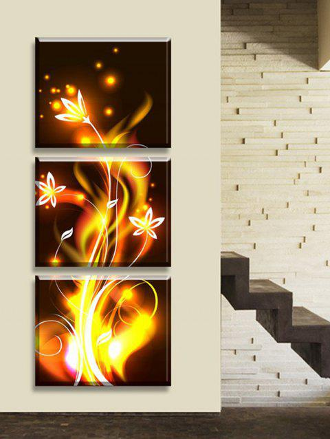Abstract Spark Flower Print Unframed Canvas Paintings - multicolor 3PCS:20*20 INCH( NO FRAME )