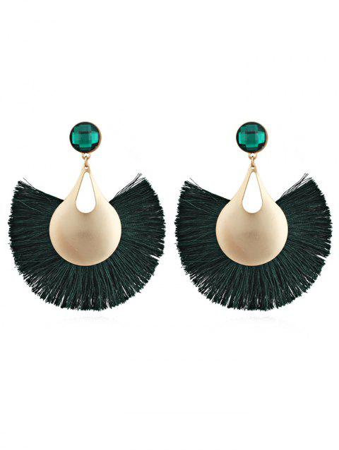 Fan Shaped Fringed Alloy Drop Earrings - MEDIUM SEA GREEN