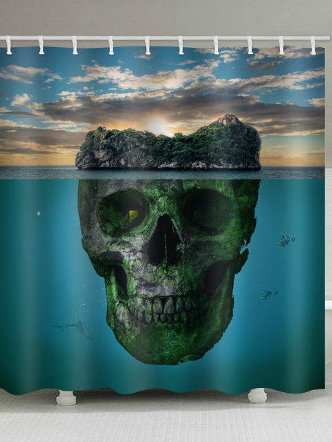 Skull Sky Sea Print Bath Shower Curtain - multicolor W59 INCH * L71 INCH