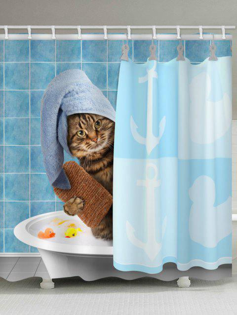 Cat Print Waterproof Shower Curtain - multicolor W59 INCH * L71 INCH