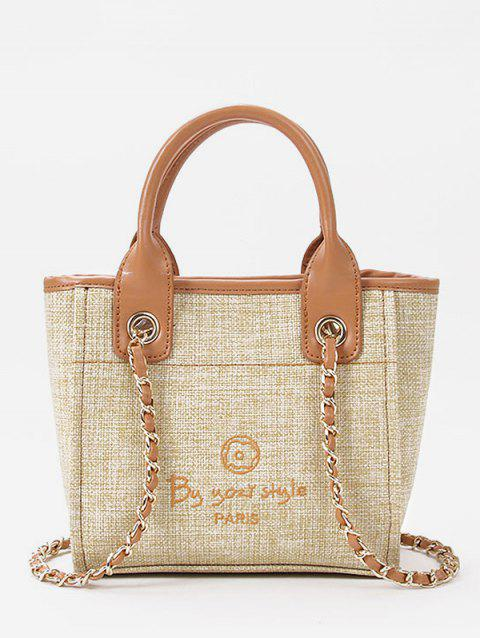 Leisure Minimalist Splicing Tote Bag with Strap - LIGHT KHAKI HORIZONTAL