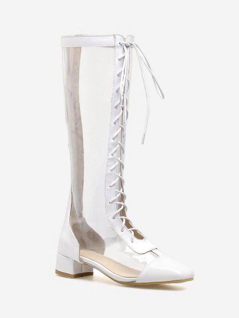 d7d81545f04 2019 Chunky Heel Lace Up PVC Transparent Mid Calf Boots In WHITE 40 ...